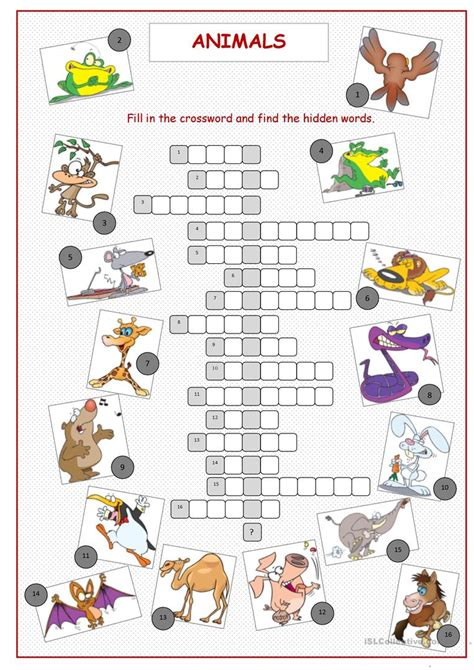 printable crossword puzzle animals animals crossword puzzle worksheet free esl printable
