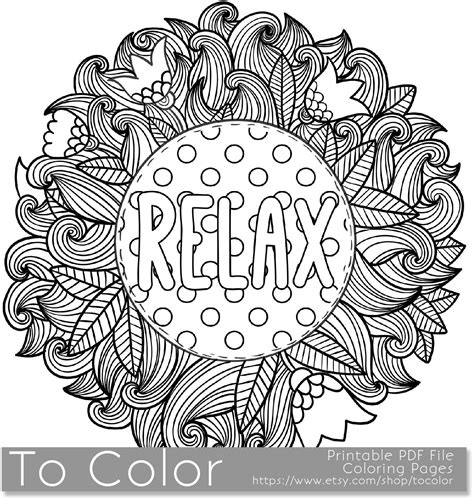 relax coloring page  grown ups    printable