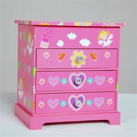 Jewellery Chest Of Drawers by Pink Patterened Musical Jewelry Chest Of Drawers
