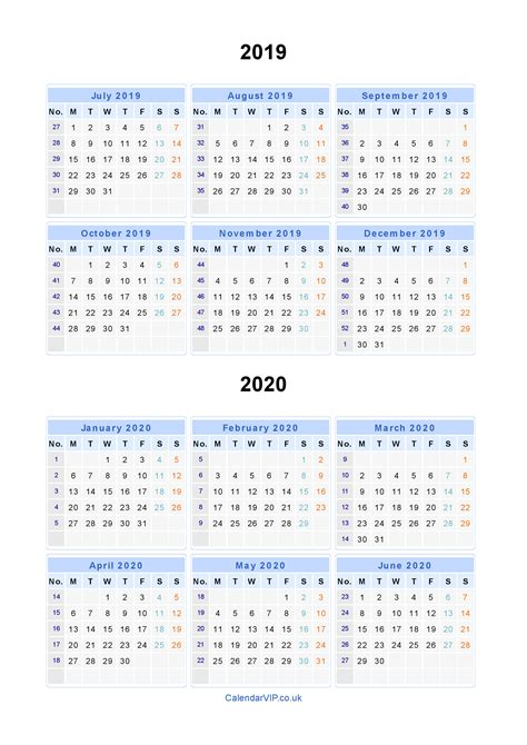 Calendar 2019 And 2020 Split Year Calendars 2019 2020 Calendar From July 2019