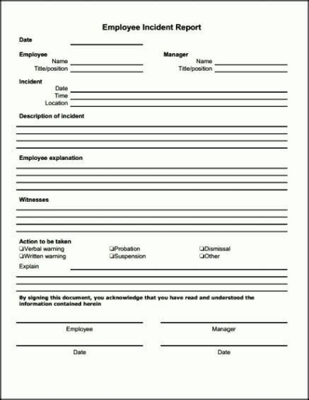 bar incident report form template template update234