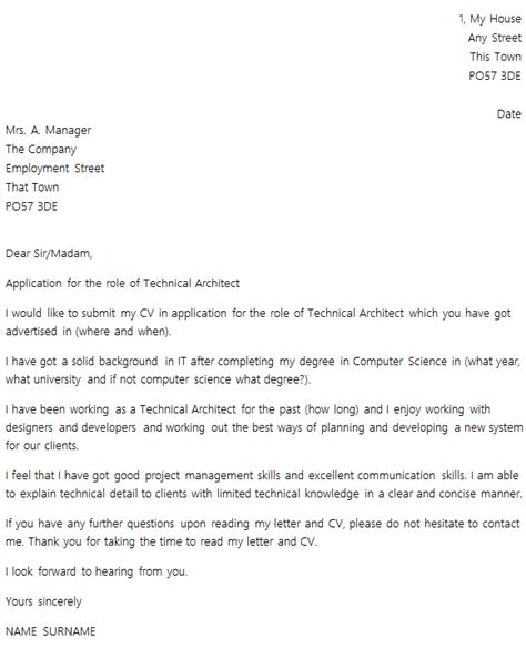 set out of a cover letter