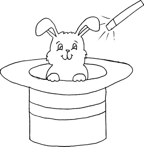 coloring pages magician hat coloring rabbit in a hat of magician picture