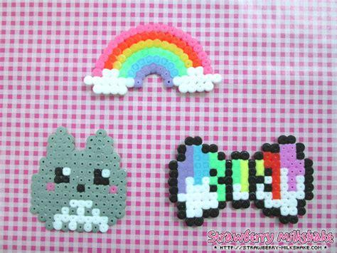 hama kawaii kawaii hama totoro rainbow paint bow by fiyahkitteh on