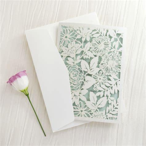 personalised pocketfold wedding invitations uk laser cut floral lace personalised wedding invitations