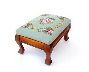 Italian Pottery Vase Antique Wood Footstool Vintage Foot Stool Needlepoint