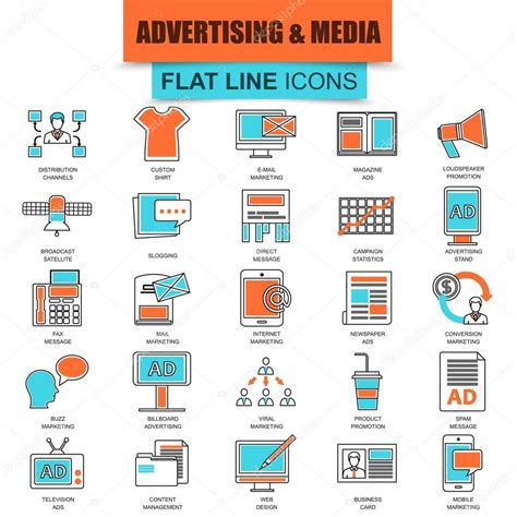 Thin Line Set Of 2 Set Of Thin Line Icons Advertising Media Channels And Ads Distribution Digital Marketing