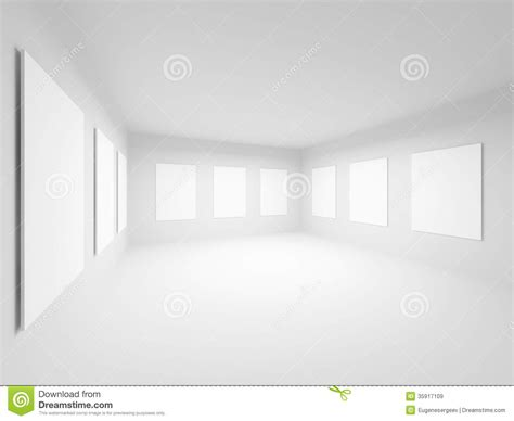 empty white art gallery hall interior stock illustration