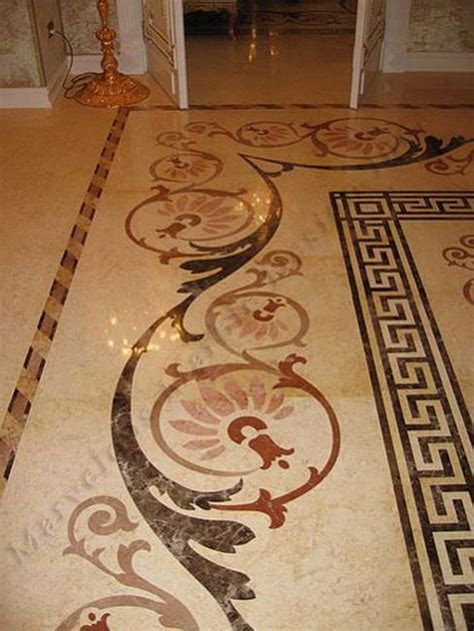 greek key border master bath tile   floor design