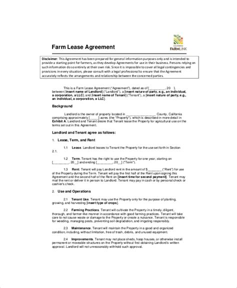 Land Rental Contract Template by 7 Land Lease Templates Free Sle Exle Format