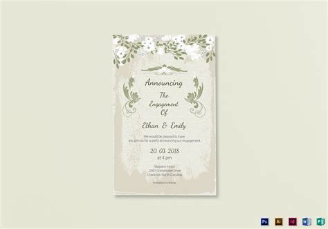 Vintage Engagement Announcement Card Template In Psd Word Publisher Illustrator Indesign Engagement Card Template