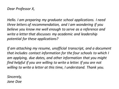 Recommendation Request Letter Sle To A Professor Asking For Letters Of Recommendation Career Skillet