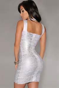 Fashion silver foil print bandage dress celebrity style lc28072 1 1