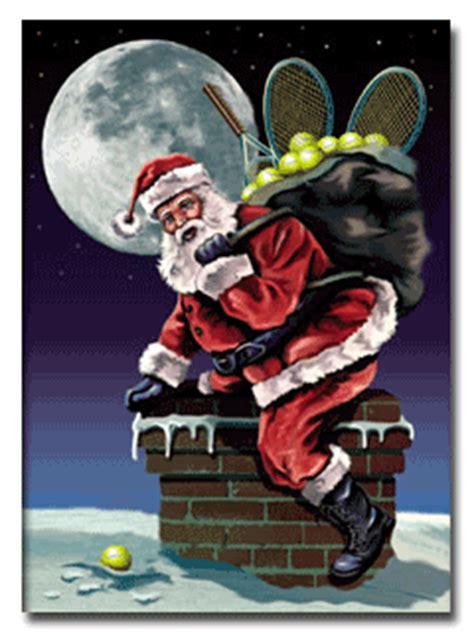 tennis christmas card santa   chimney notecards tennis
