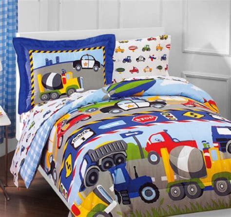 Construction Bed Set Construction Trucks Cars Tractors Boys Comforter Set 5 Bedding