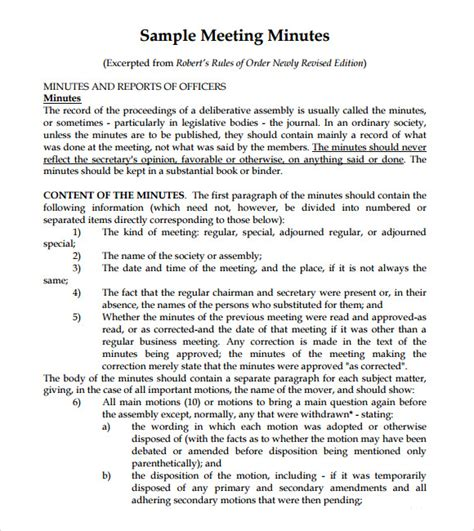 template meeting notes meeting notes template 9 free documents in pdf