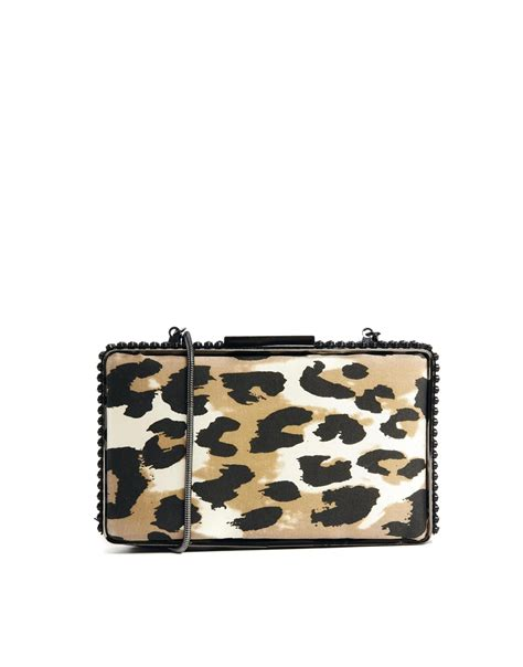 Up Of Designer Animal Print Clutch by Connection Aisha Leopard Print Box Clutch In Animal