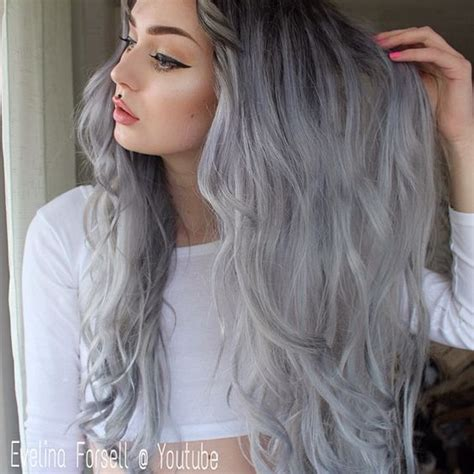how to blend in gray roots of black hair with highlig silver series colorful clip in c035 silver hair grey