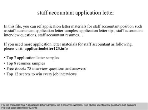 application letter for accounting staff position staff accountant application letter