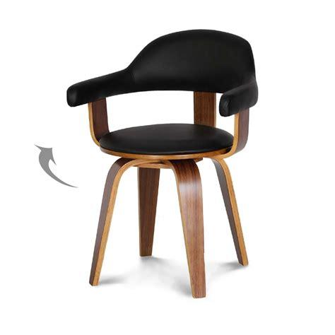 chaise design su 233 doise simili cuir noir et bois massif walnut
