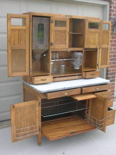 oak hoosier style mcdougall  wide cabinet  flour bin
