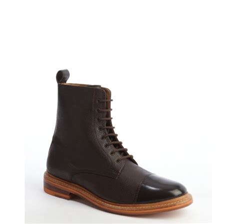 ben sherman brown leather cap toe laceup boots in brown
