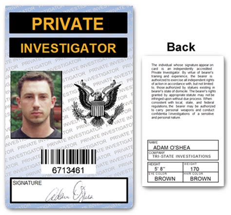 Detective Identification Card Template by Investigator Pvc Id Card