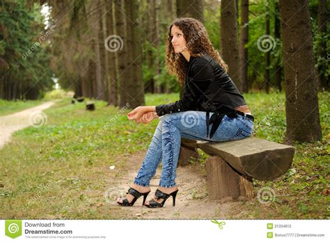 bench girl girl on a bench stock photography image 21334812