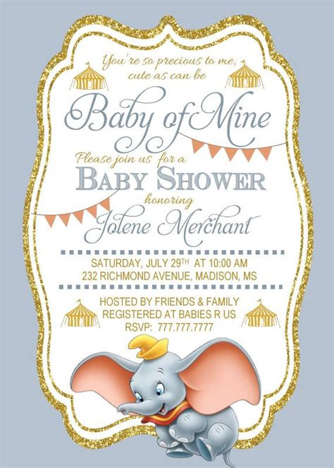 Printable Disney Baby Shower Invitations by Diy Printable Baby Shower Invitation Baby Of Mine Dumbo