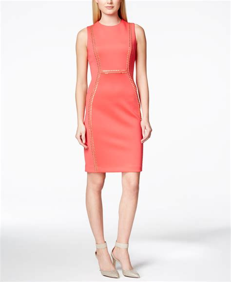 Embellished Sheath Dress calvin klein embellished scuba sheath dress in pink lyst