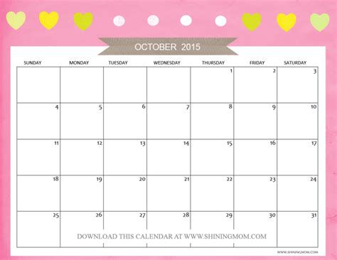 printable monthly calendar for october 2015 free printable october 2015 calendars