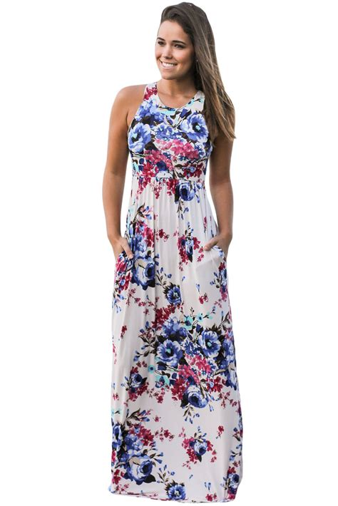 Floral Print Sleeveless Dress white floral print sleeveless boho dress