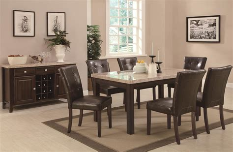 coaster milton 103771 103772 brown wood and marble dining