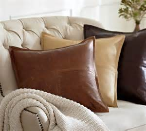 Cushions For Leather Sofa Piced Leather Pillow Cover Traditional Decorative Pillows Other Metro By Pottery Barn