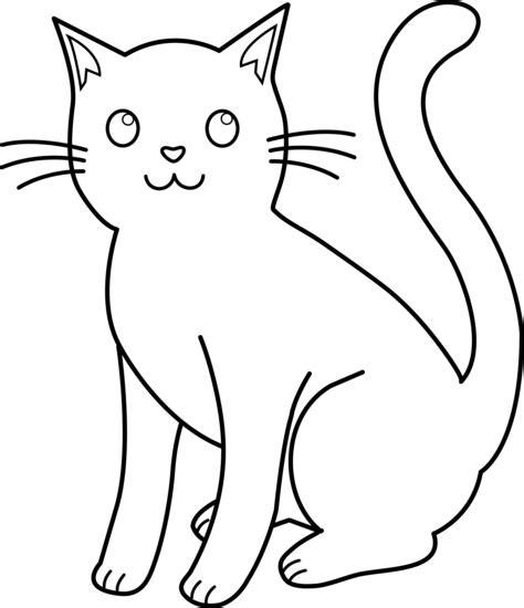 Cat Outline by Black And White Cat Lineart Free Clip