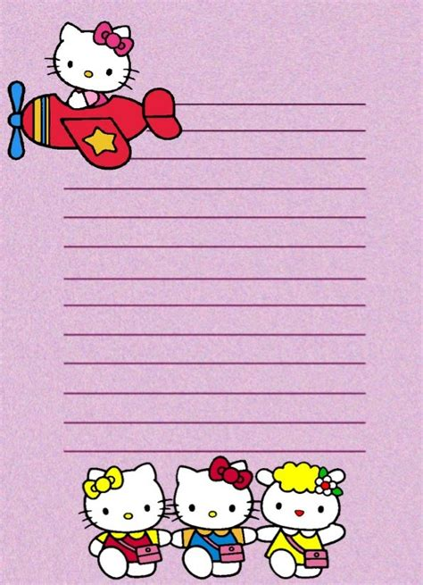 free printable hello kitty lined paper 17 best images about borders stationary animals on