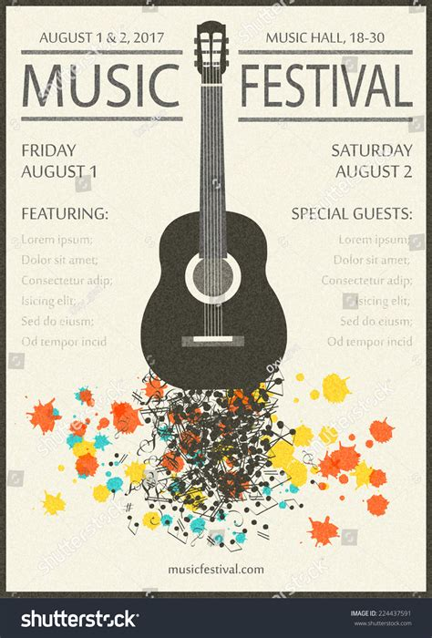 poster design notes music festival vintage poster background template stock