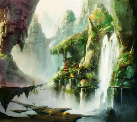 alien waterfall scenery alien landscapes