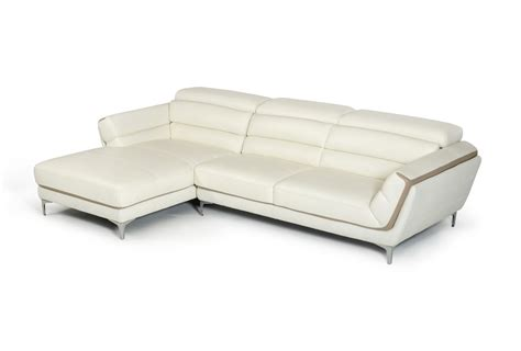 taupe leather sectional divani casa longford modern white taupe leather