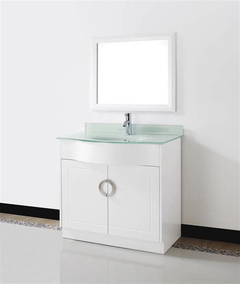 glass top vanities bathrooms zoe 36 quot white bathroom vanity glass top