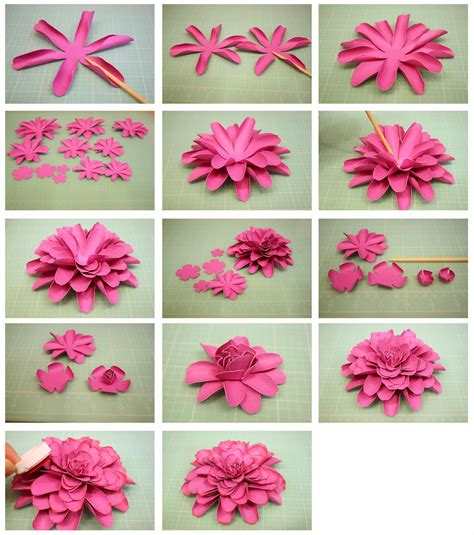 Papers Flowers - bits of paper 3d dahlia another paper flower
