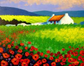 Poppy Shower Curtain Poppy Field Ireland Painting By John Nolan