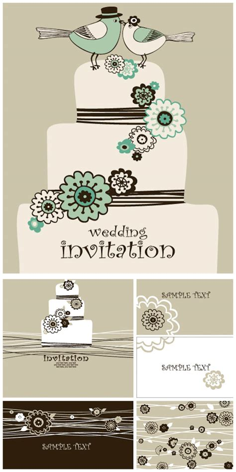 decorative wedding invitation card templates vector