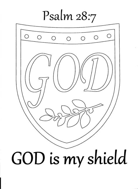 God Is My Shield Psalm 28 7 Coloring Page Sunday School God Is Coloring Page