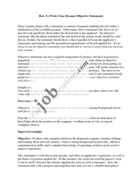 application objective statement sle resumes free resume tips resume templatesresume