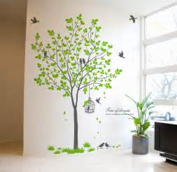 Tree Sticker For Wall birdcage birds tree wall decals wallstickery com