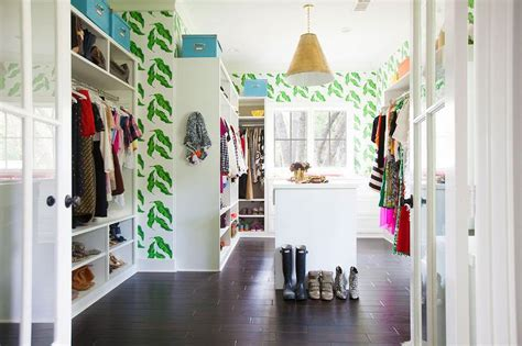 closet wallpaper walk in closet with leaves wallpaper contemporary closet