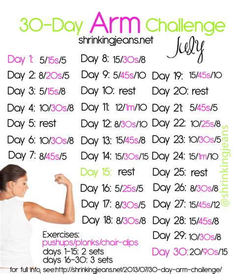30 day exercise challenge for 30 day arm challenge a free workout calendar