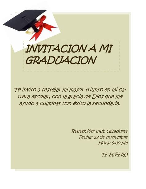 invitacion de graduacion en espanol tarjeta de invitacion