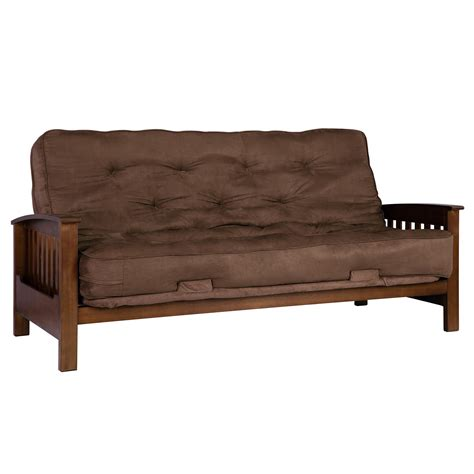 hardwood futon dhp furniture hudson wood arm futon with brown mattress